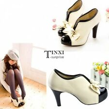 Woman New High Heel Sexy Lady Boots Beige Tie Platform Bow Pump Ankle Shoes TXSU