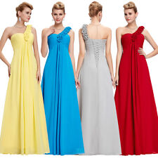 One Shoulder Long Chiffon Bridesmaid Gown Formal Evening Prom Party Dresses New