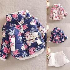 Toddlers Kids Girls Winter Cotton Floral Coat Long Sleeve Jacket Thick Outerwear