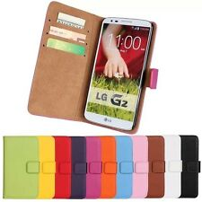 Genuine Leather Wallet Stand  Case Cover Protector For LG Optimus G2 D800 D802