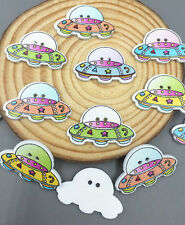 Cartoon UFO Spaceship shape Wooden Sewing Buttons Mixed color scrapbooking 28mm