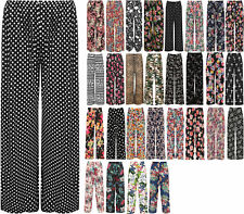 New Plus Size Womens Floral Print Ladies Wide Leg Palazzo Trousers Pants