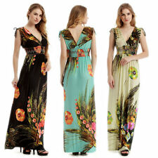 Womens Boho Maxi Long Dress V-neck Floral Beach Evening Party Summer Dress M-6XL