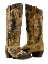 Womens Distressed Sand Leather Cowboy Cowgirl Gold Studs Western Boots Rodeo New
