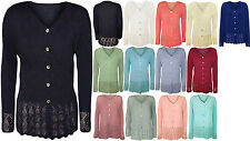 New Plus Womens Knitted Button Cardigan Ladies Long Sleeve Crochet Top