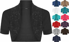 New Ladies Plus Size Beaded Shrug Womens Short Sleeve Bolero Cardigan Top