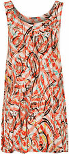 New Plus Womens Sleeveless Long 70S Print Flared Swing Vest Ladies Top