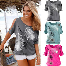 Women Summer Off Shoulder Round Neck Printed Feather Tops Blouse Casual T-Shirt