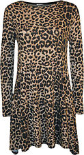 New Womens Plus Size Leopard Animal Print Long Sleeve Ladies Swing Dress