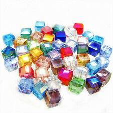 50/100X Faceted Square Cube Glass Crystal Loose Spacer Beads Jewelry Making 6mm