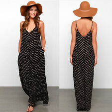 Fashion Women Chiffon Backless Sling Strap V-Neck Polka Dot Clubwear Dress