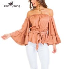 Sexy Off Shoulder Faux Silk Bell Flare Sleeve Peplum Summer Club Top Blouse Tee