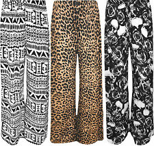 New Plus Size Womens Print Ladies Wide Leg Palazzo Trousers Pants