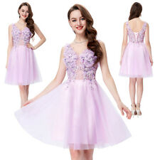 New V-Neck Tulle Netting Bridesmaid Ball Evening Prom Party Dress Formal Short
