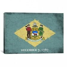 iCanvas Delaware Flag, Grunge Wood Boards Painted Graphic Art on Canvas. Huge Sa