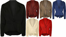 New Womens Plus Size Plain Button Long Sleeve Blazer Top Ladies Jacket