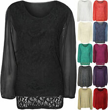 New Womens Plus Size Lace Lined Sheer Long Sleeve Ladies Chiffon Tunic Party Top