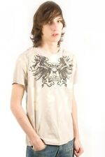 Parasuco Beige Bleached Winged Skull MS8T039 Tee Short Sleeve T-Shirt $84 CAD