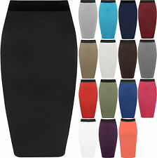 New Womens Plus Size Plain Bodycon Pencil Ladies Stretch Office Midi Skirt