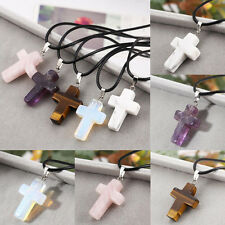 New Natural Quartz Crystal Stone Chakra Healing Gemstone Cross Pendant Necklace