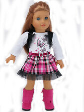 """Doll Clothes AG 18"""" Dress Pink Plaid Butterfly Made To Fit American Girl Dolls"""