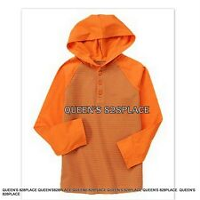 Nwt Crazy 8 Boys size 5-6 S orange striped thermal hoodie t-shirt top new