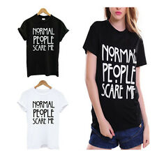 Shirt Cotton Funny Tshirt Print Women Casual Normal People Scare Me