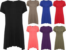 Womens Plus Swing Flare Dress Top Short Sleeve Mini Bodycon Stretch Round