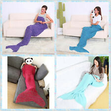 DIY Super Soft Knitted Hand Crochet Mermaid Tail Sofa Blanket Teen /Adult Size