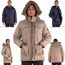 Mens Faux Fur Hooded Trim Water Resistant Poly Ripstock Jacket Size S M L XL XXL