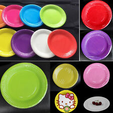 10 Pcs Paper Plates Plain Solid Colours Birthday BBQ Party Tableware 9inch/23cm