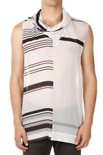 RICK OWENS Men White Silk COWL JUMBO SLEEVELESS TEE Made in Italy New