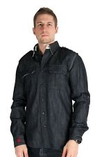 Parasuco Mens Dark Blue Button Up 9-REIGN Long Sleeve Heavy Denim Shirt $181 CAD