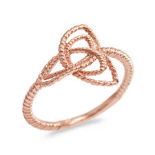Fine 10k Rose Gold Rope Triquetra Celtic Knot Ring