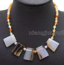 "SALE 20*25mm Trapezoid White Natural agate And 6mm round agate 17"" necklace-5974"