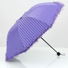 Creative Lace Folding Sun Rain Umbrella Fashion Anti UV Stripe Princess Parasol
