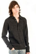 Parasuco Mens Dark Gray Rugby 9-HENLEY Polo Long Sleeve Shirt $129.00 CAD NWT