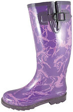 Smoky Mountain Boots Womens Dancing Horses Purple Rubber Waterproof Rain