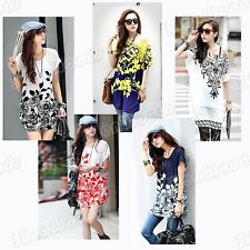 Women Short Sleeve Blouse TShirt Lady Top Sexy Tops Summer Cotton Chiffon Womens