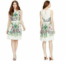NWT Ralph Lauren Floral-Print Pleated Chiffon Dress Lined P 12 14