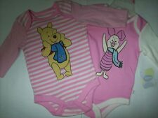 2 Pack Disney Baby Girl Character Long Sleeve Cotton Bodysuits 0-3 3-6 Month NEW