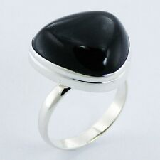 Silver ring 925 sterling handmade Black Agate Smoothed Triangle size adjustable