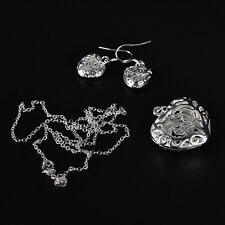 women lady silver Plated Fashion Beautiful cute Heart Necklace/Earrings SPCA