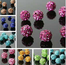 10Pcs Disco Ball Clay Round Crystal Rhinestones Spacer Beads Pave Czech