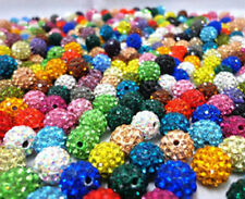 10Pcs Pave Round Crystal Rhinestones Clay Disco Ball Czech Spacer Beads Fashion