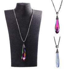 Women Big Water Drop Crystal Pendant Long Sweater Necklace Fashion Jewelry