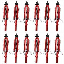 Lot Hunting Field Arrow Tip Point Broadheads 3 Expandable Blade 100 Grain Red