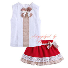 Kids Girls Lace Flower T-shirt + Red Skirt Set Princess Summer Clothing Outfits