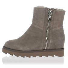 ASH new women Suede Leather shearling Ankle Boots mod. YANG with lateral ZIp