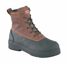 Iron Age Mens Brown Leather Rubber WP Work Boots Compound Comp Toe